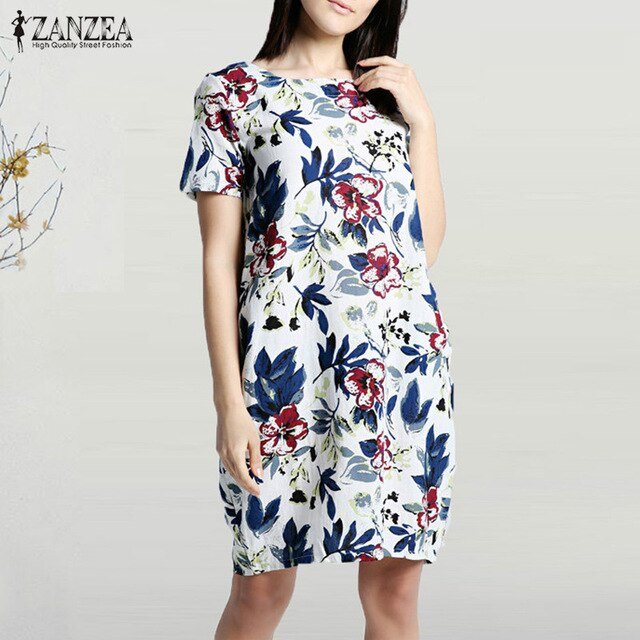 2019 ZANZEA Summer Floral Printed Party Dress Women Casual Short Sleeve Pockets Loose Sundress Vintage Cotton Linen Vestido Robe