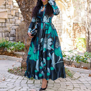 Women Vintage Floral Printed Long Sleeve Spring Dress Retro Plus Size Office Maxi Vestidos Elegant Ladies Party Long Shirt Dress