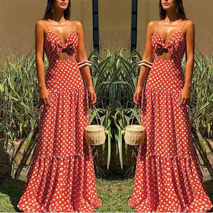 2019 sexy dresses Womens Summer Holiday party long dresses Dots Print Sleeveless Party Beach maxi Dress robe femme 0.4