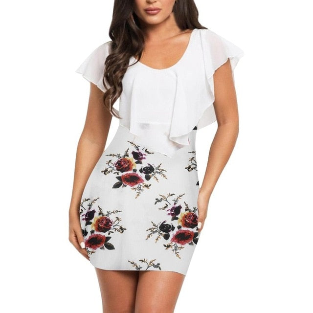 Sexy Women summer dress Sleeveless Floral Printed Bodycon Holiday Party Short Mini Dress Fashion bodycon dresses vestidos verano