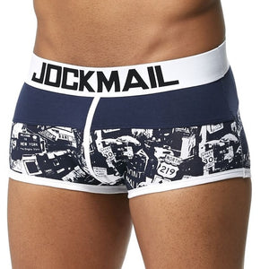 JOCKMAIL Male Panties Breathable Boxers Cotton Mesh Men Underwear U convex pouch Sexy Underpants Printed leaves Homewear Shorts