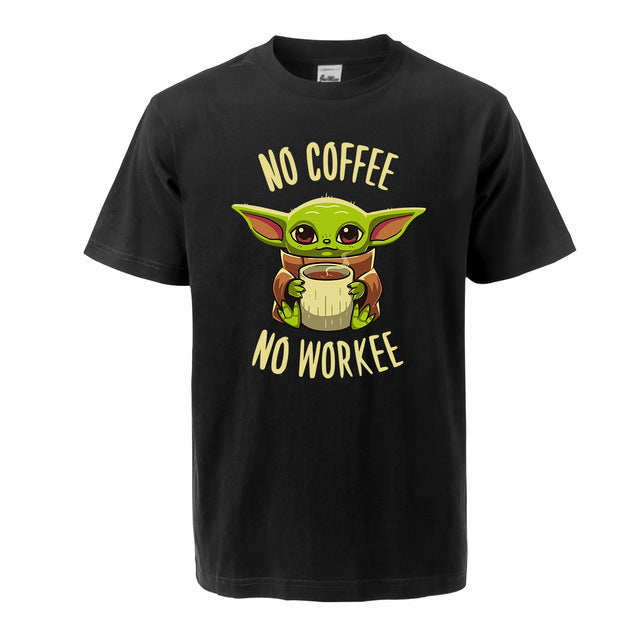 The Mandalorian Baby Yoda T Shirt For Men 2020 Summer Cotton Cute Young Yoda No Coffee No Workee Short Sleeve Tee Cool Male Tops