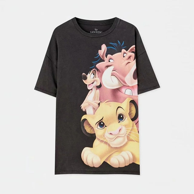 JXYSY T-shirt Women 2020 Summer England Style Fashion Cartoon Lion King Print O-neck Short Sleeve T-shirt Female Tops