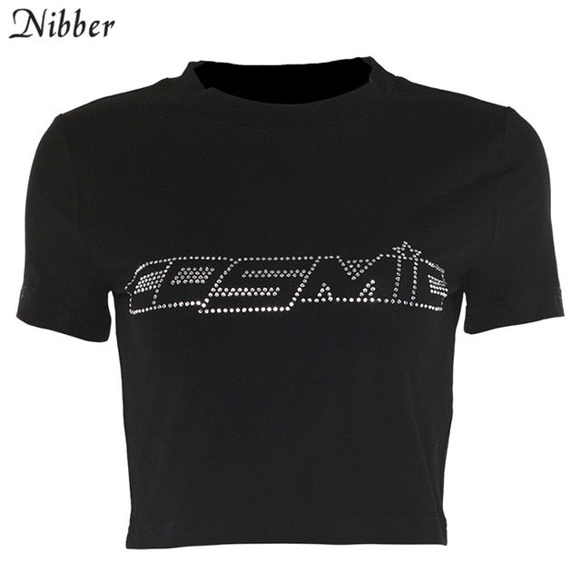 Nibber black Letter Rhinestone cotton T Shirts women summer Navel Bare Cropped Streetwear Fashion Top Tee Slim Fit Short T-shirt