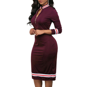 2020 Spring Long Sleeve Dress Women Sport Style Dress Silver Zipper Half Neck Stripe Color Matching Dress Stretch Bodycon D30