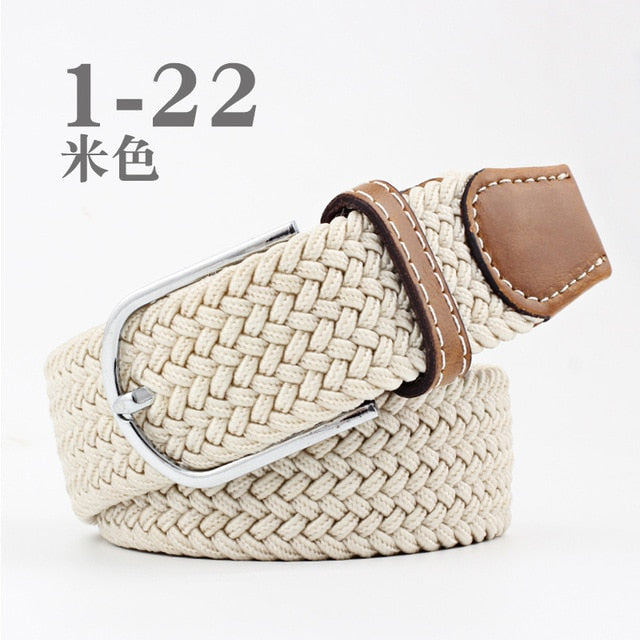 High Quality Fashionable Elastic Canvas Belts for Women Knitted Buckle Adjustable Belt Male Canvas Belts for Jeans 26 Colors NEW