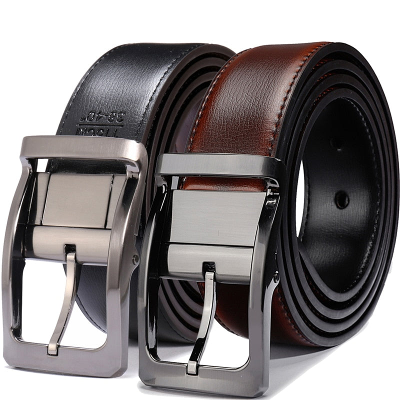 Men's Genuine Leather Dress Belt, Reversible Belt for Men Two In One 3.4cm wide mens belts big and tall