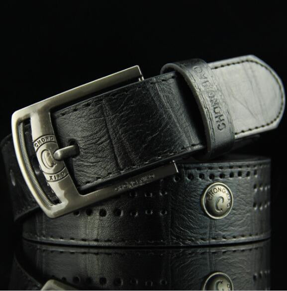 Men's Denim Casual Belt Hollow Rivet Punk Style Wide Belt for New Fashion Strap Male High Quality Jeans PU Leather Belt
