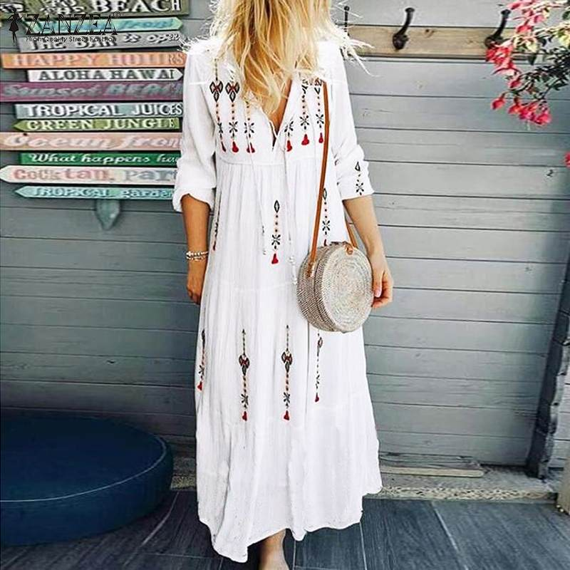 ZANZEA 2019 Women's Printed Sundress Bohemian V Neck Tunic Vestidos Plus Size Maxi Dress Female Fashion Long Sleeve Robe Femme