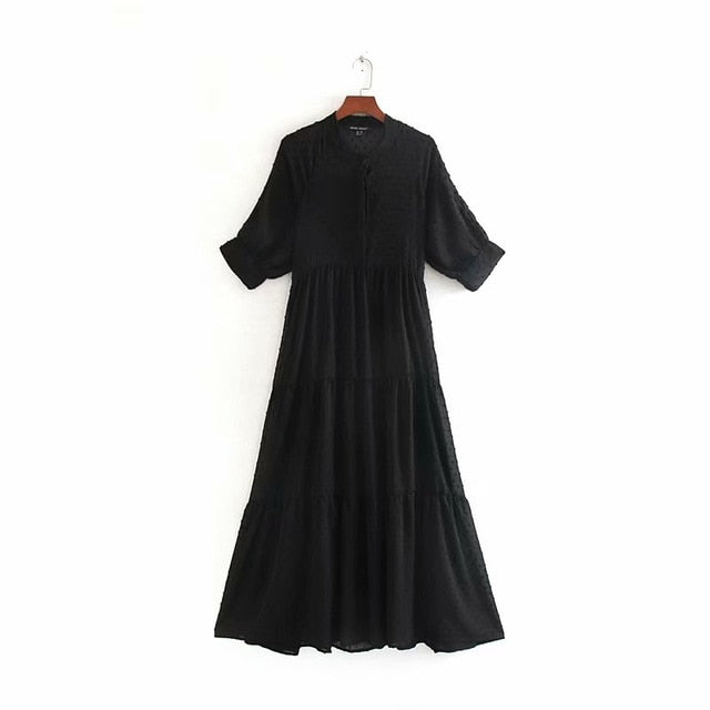 hot sale dress women's long dress stand-collar solid color polka dot dress half sleeve chiffon loose casual dress