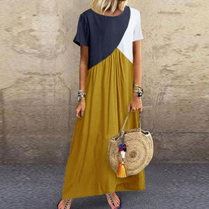 5XL Vintage Short Sleeve Long Dress Patchwork Casual Loose Plus Size Retro Maxi Dresses Women Summer O-neck Beach Dress#65