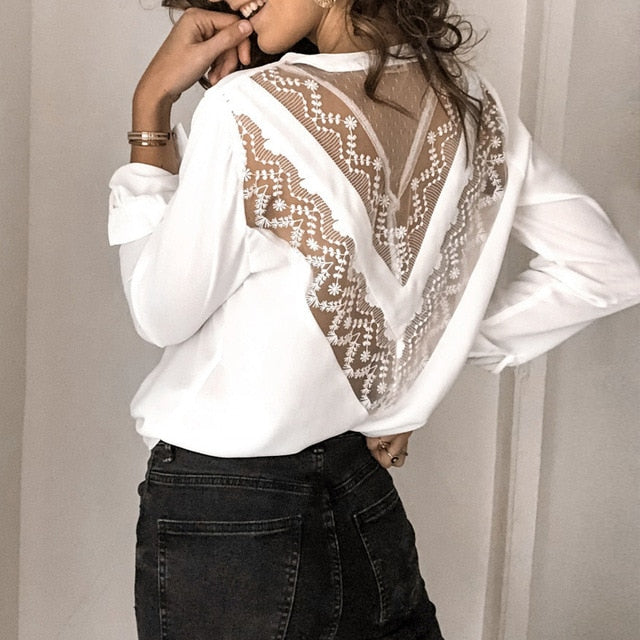 Sexy Hollow Out See-Through Shirt Blouse Elegant Women V Neck Floral Lace Pleated Blouse Spring Office Lady Blusa Tops Pullovers