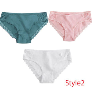 3PCS/Set Cotton Underwear Women's Panties Comfort Underpants  Floral Lace Briefs For Woman Sexy Low-Rise Pantys Intimates M L XL