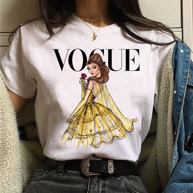 vogue princess t shirt aesthetic women fashion girls 90s tshirt harajuku ulzzang print Graphic summer t-shirt top tee female