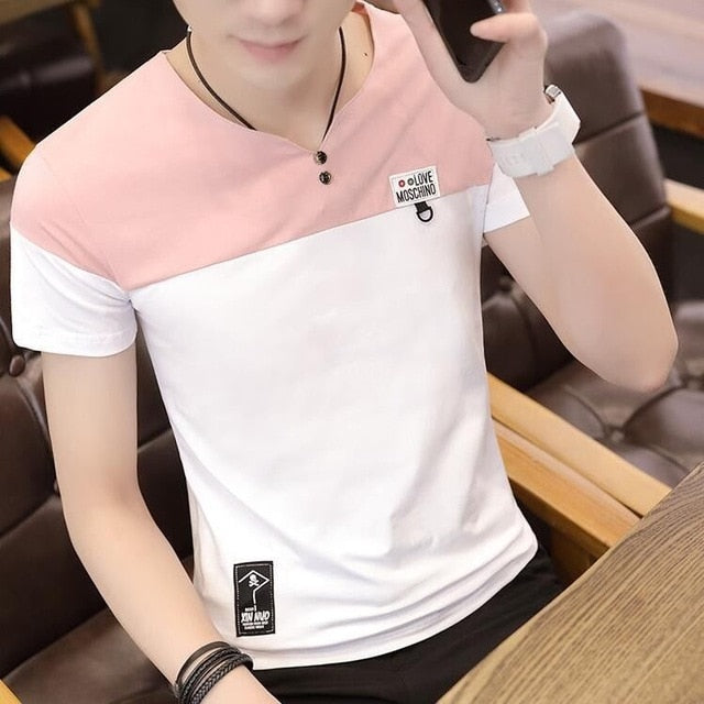 2020 new men t shirt casual short sleeve men's basic tops tees stretch t shirt mens clothing chemise homme
