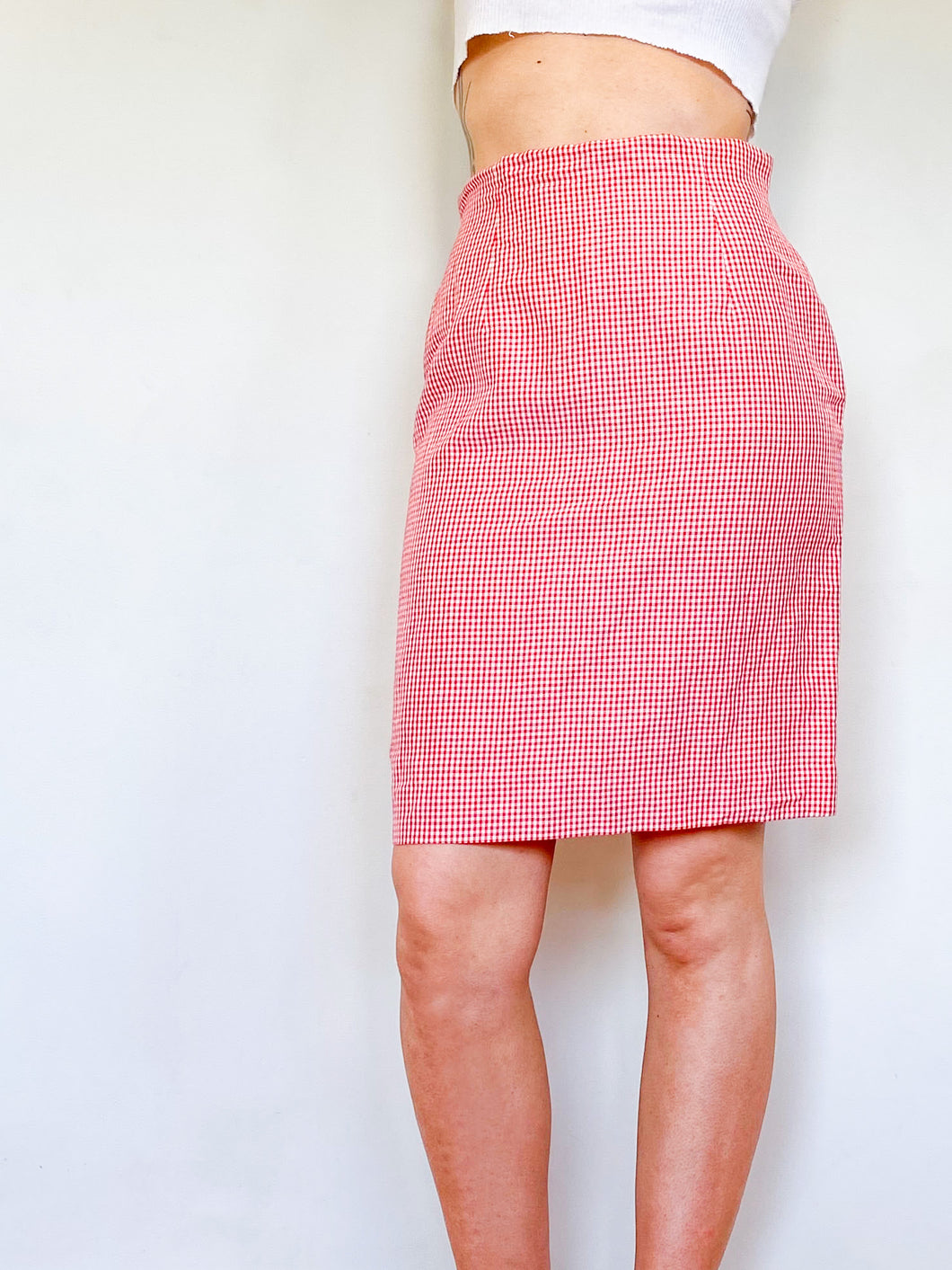 Red Gingham Skirt (M)