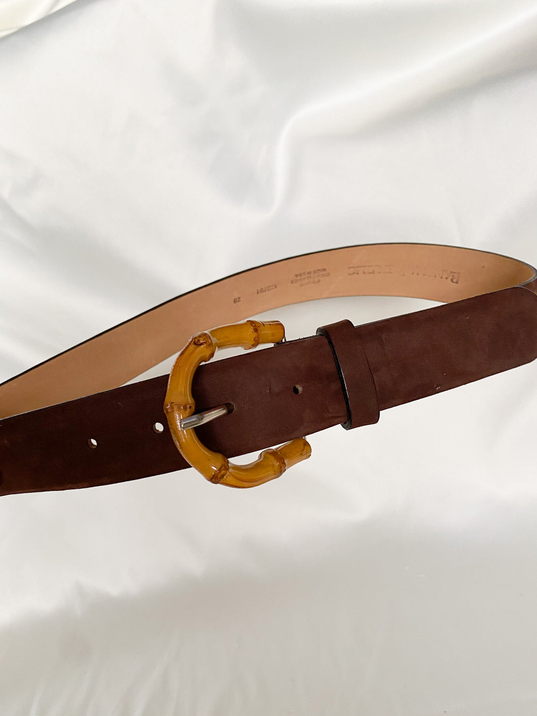 "Brown Sueded Bamboo Buckle Belt (24""-28"")"