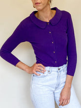 Load image into Gallery viewer, Purple Peter Pan Collar Cardigan (S)