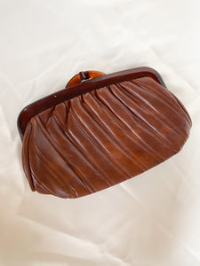 Brown Leather Tortoise Clutch