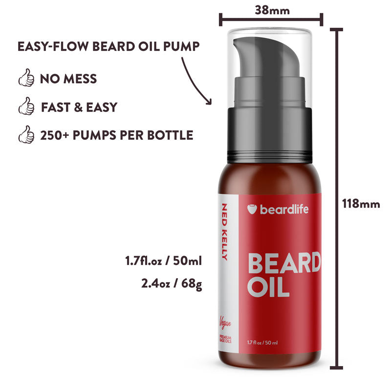 Beardlife Beard Oil Ned Kelly Bottle Measurements
