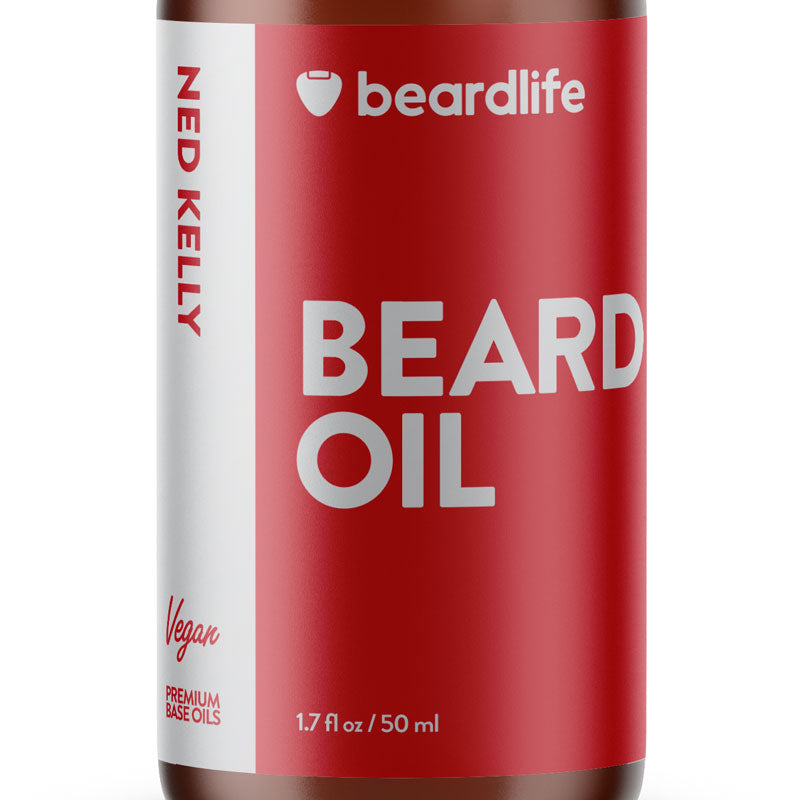 Beardlife Beard Oil Ned Kelly Bottle Front Detail