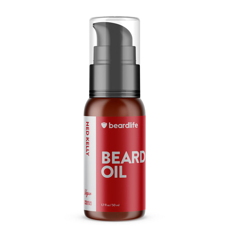 Beardlife Beard Oil Ned Kelly Bottle Front