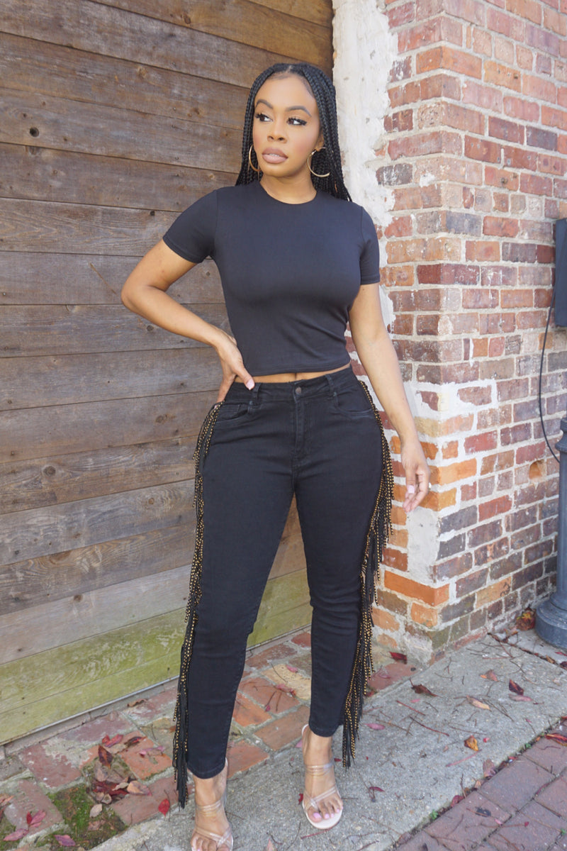 COMFY CROP T | DOUBLE LAYERED (BLACK)