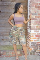 TAUPE BROWN SECOND SKIN CROP TOP