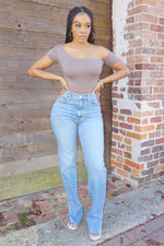 COLD SHOULDER | BODYSUIT (TAUPE)