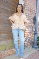 PRETTY PEACH | TULLE TOP