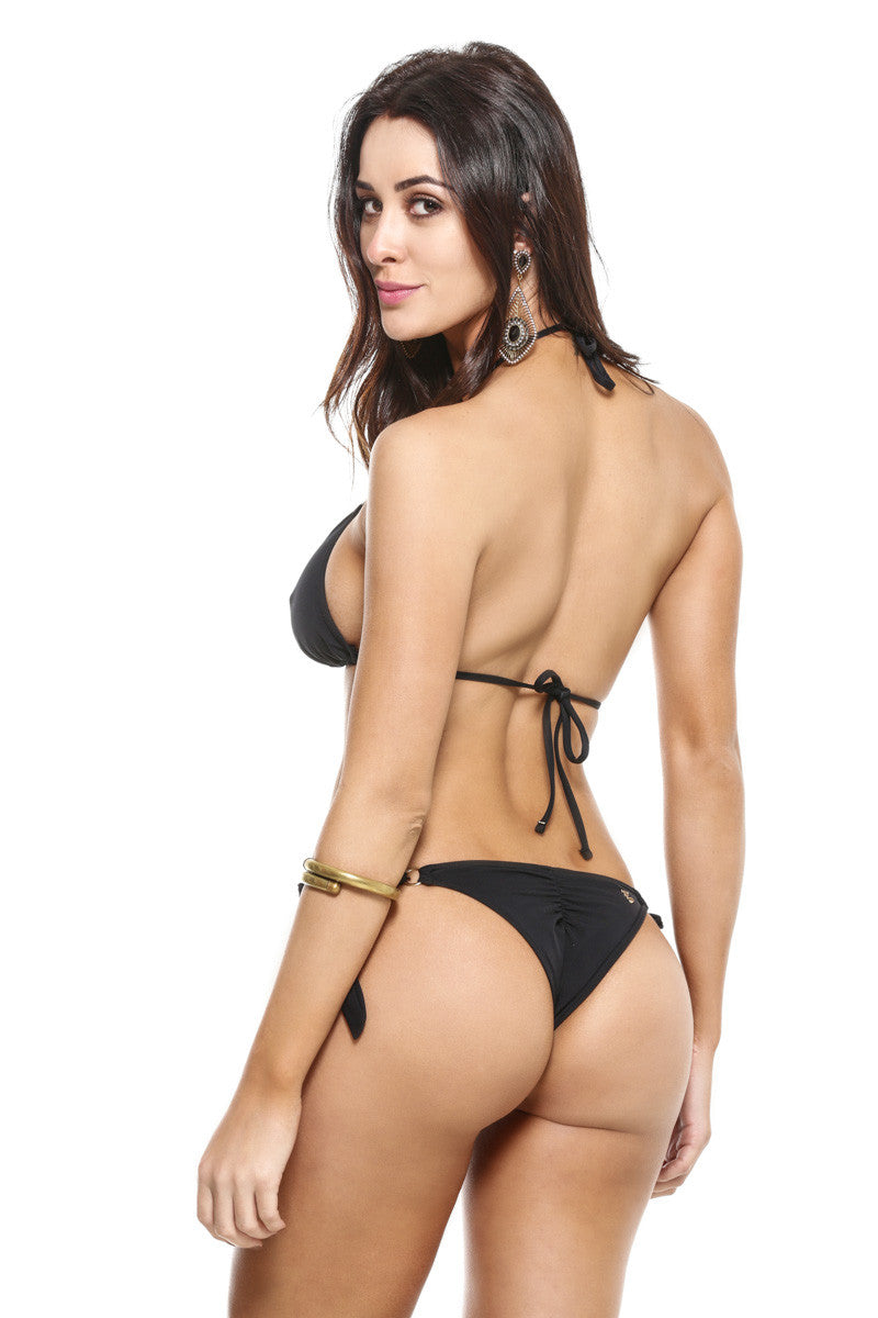 Black Scrunch Thick Tie Side Bikini American Brazilian Cuts