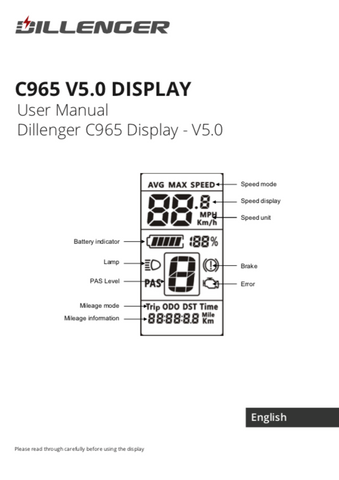 Dillenger C965 LCD Display Manual