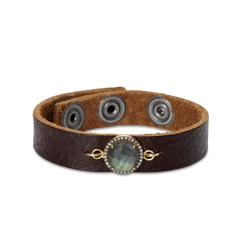 Diamond & Labradorite Leather Bracelet