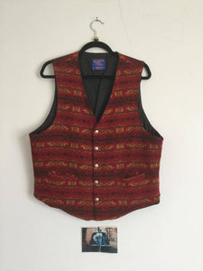 Red Wool Vest, stamped buttons, Pendleton XL