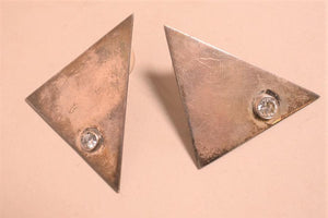 Mexican Sterling Silver Modernist Triangle Earrings