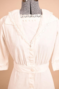 Early 1900s White Cotton Day Dress,  XS