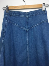 Load image into Gallery viewer, Blue 1970s Denim Snap Front Skirt by Weathered Blues XS/S