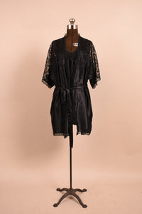 Black lace trim nightgown + robe, by Miss Dior, S