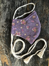 Load image into Gallery viewer, Dusty Purple Floral Calico Face Mask with Tassels, Gypsum Vintage Handmade