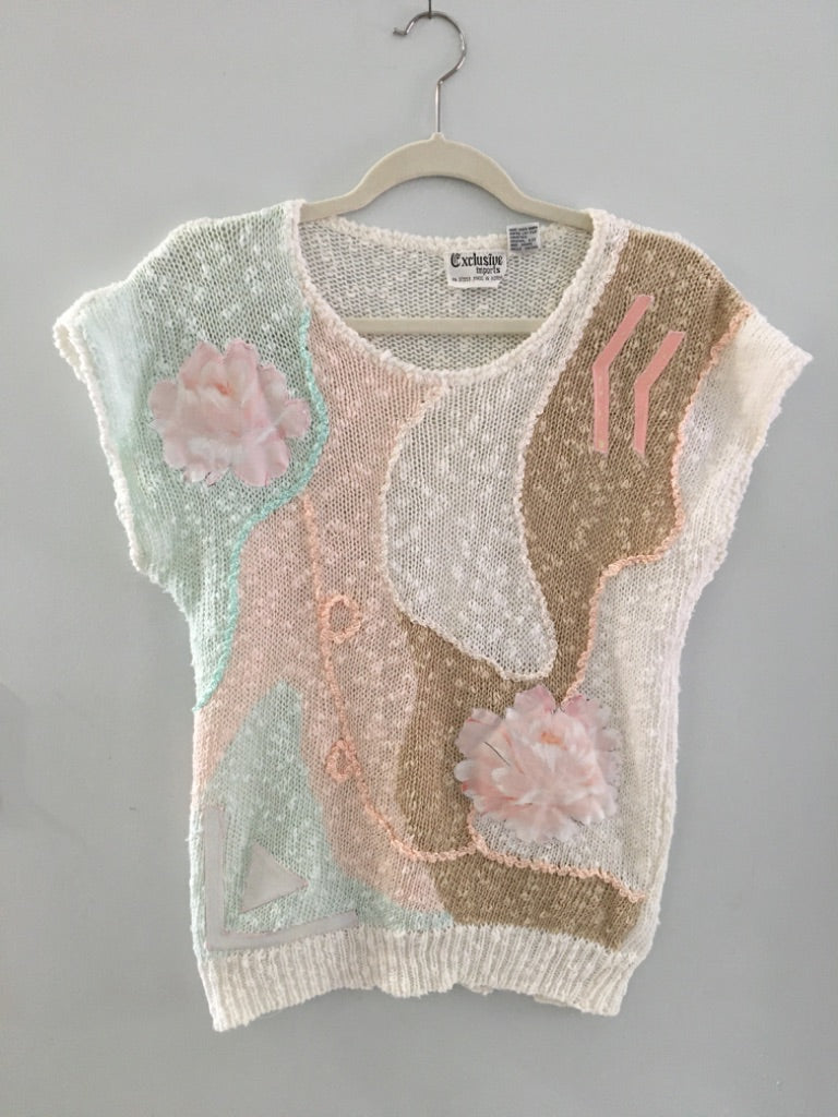 70s Knit Sweater Top, By Exclusive Imports, M/L