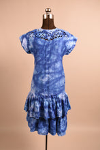 Load image into Gallery viewer, Hand Dyed Indigo Cotton Drop Waist Dress, By Belle France, S