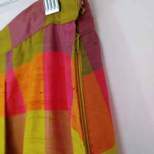 Raw silk multi color Maxi Skirt, L