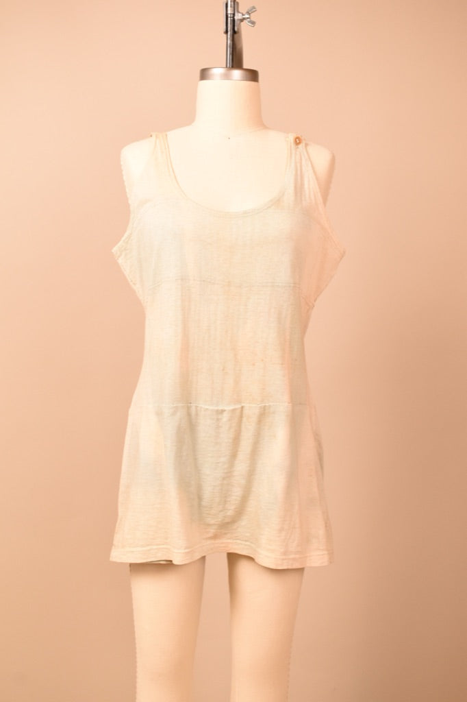 Blue & Cream Perfectly Faded 1920s Swimsuit, L
