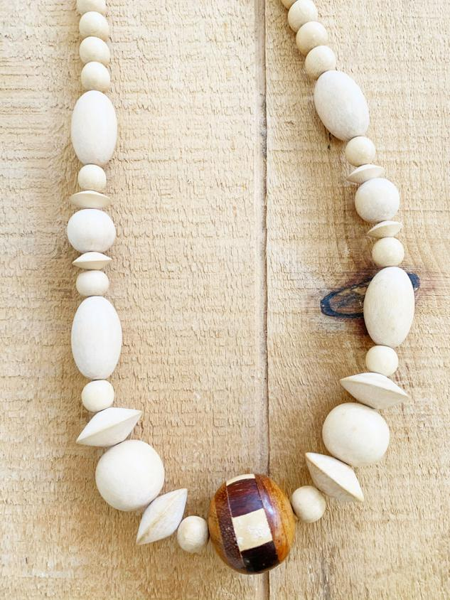 White Wooden Beaded Necklace