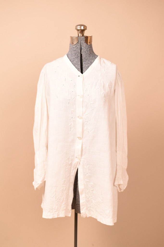 White Embroidered Irish Linen Jacket,S
