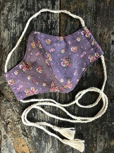 Dusty Purple Floral Calico Face Mask with Tassels, Gypsum Vintage Handmade
