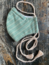 Load image into Gallery viewer, Green Stripe Face Mask with Tassels, Handmade