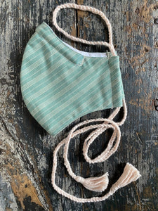 Green Stripe Face Mask with Tassels, Handmade