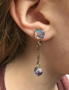 1950s Aurora Borealis Drop Crystal Clip Earrings