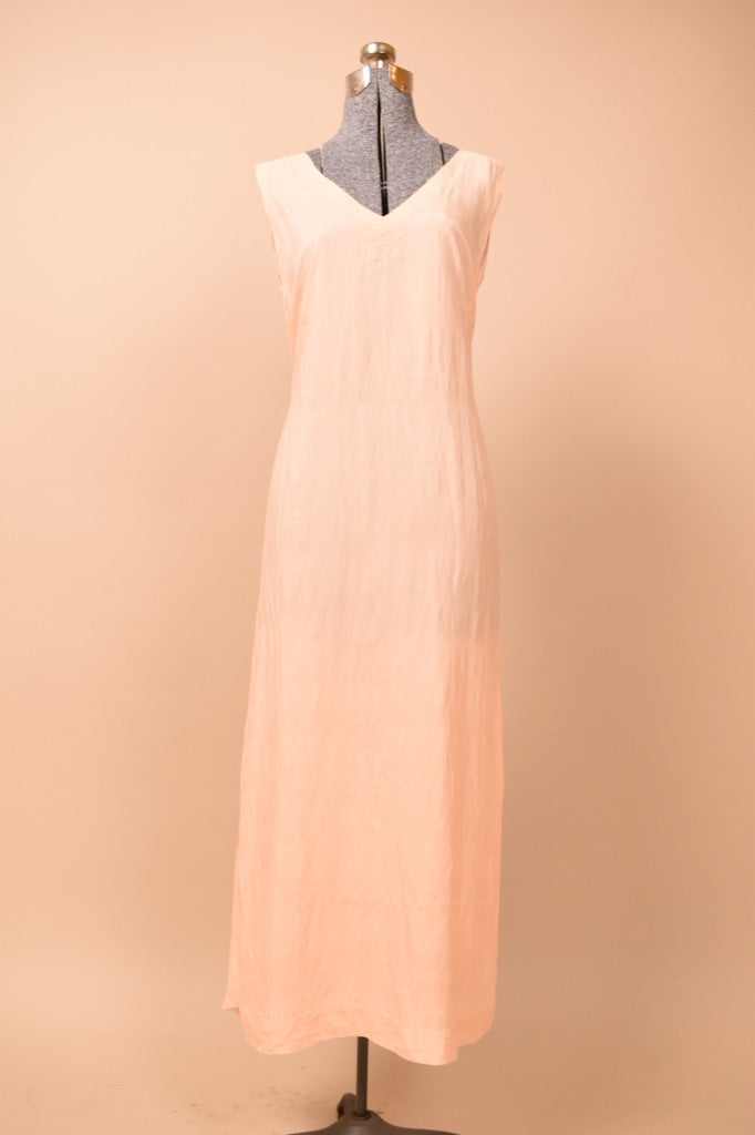 Pale Pink 1920s Embroidered Silk Nightgown, M